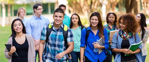 Group of college students walking to class