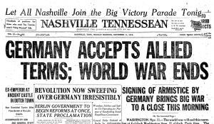 Nashville Tennessean front page on Armistice Day