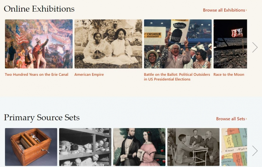 DPLA online exhibitions screenshot