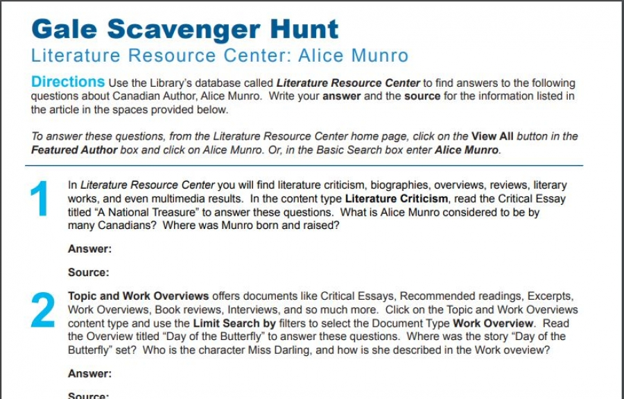 gale web scavenger hunts