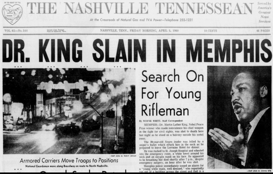 Front Page of Tennessean from April 5, 1968
