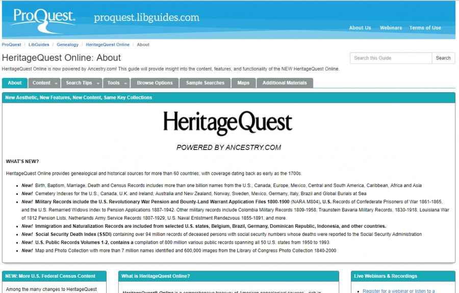 HeritageQuest User Guide homepage