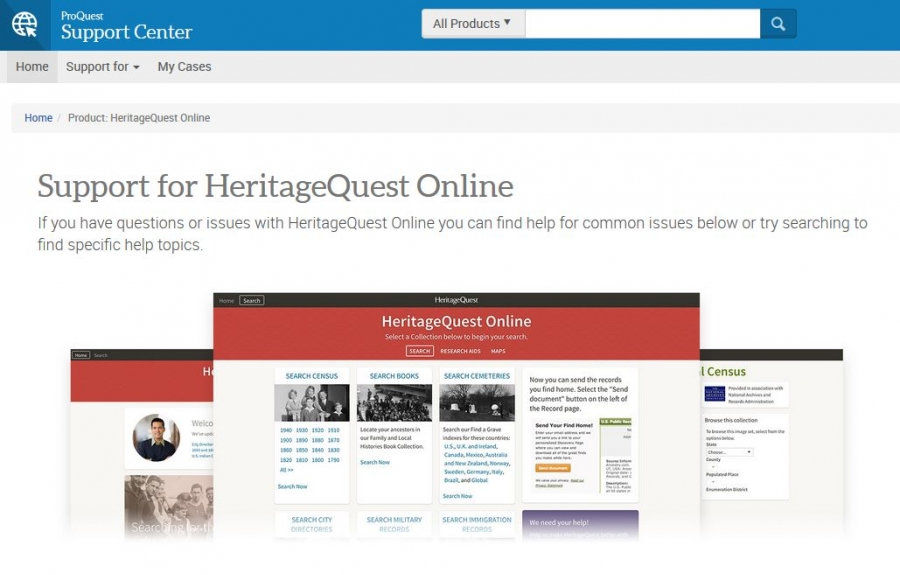 HeritageQuest Technical Support homepage
