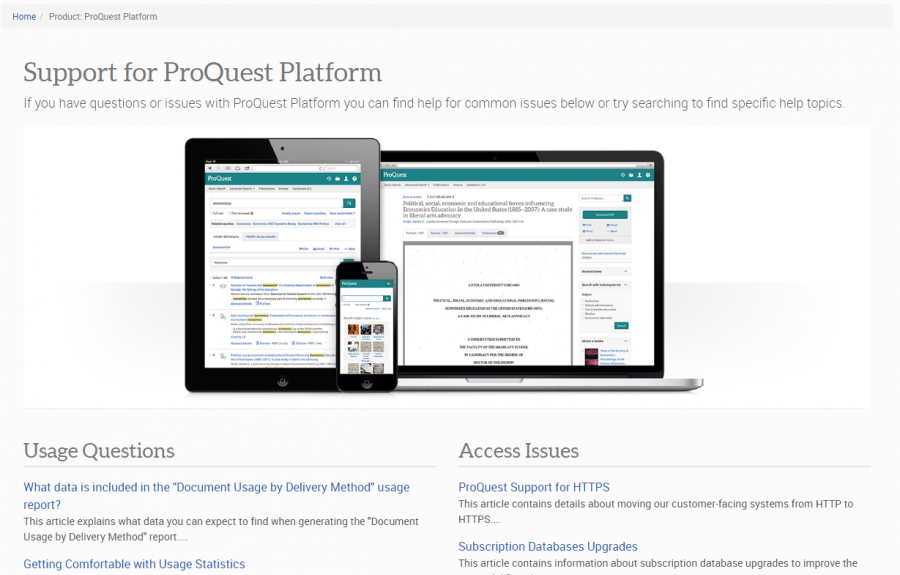 Screenshot of ProQuest Platform