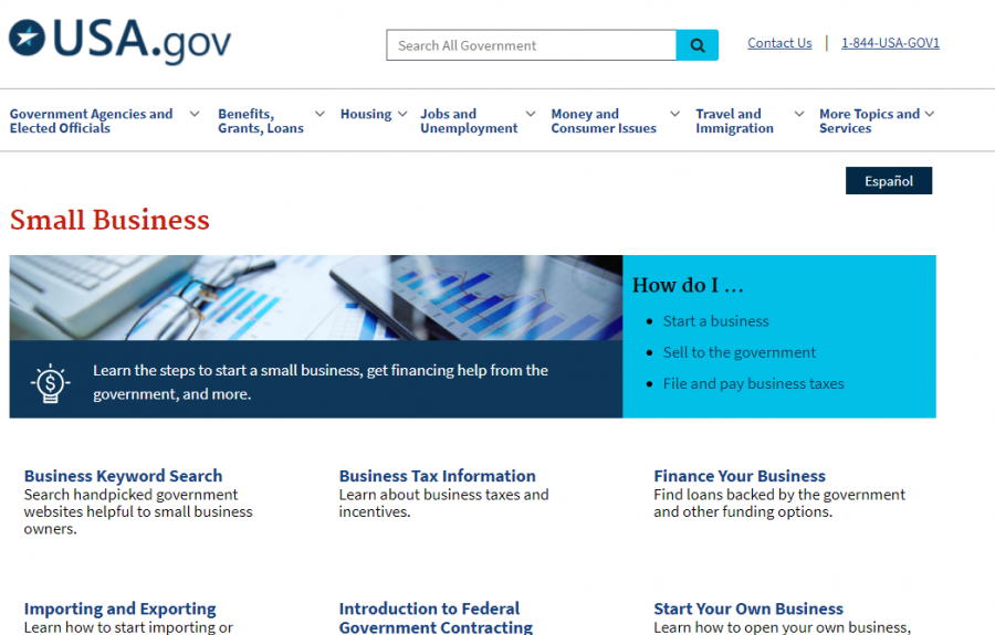 Small Business Portal at USA.gov homepage