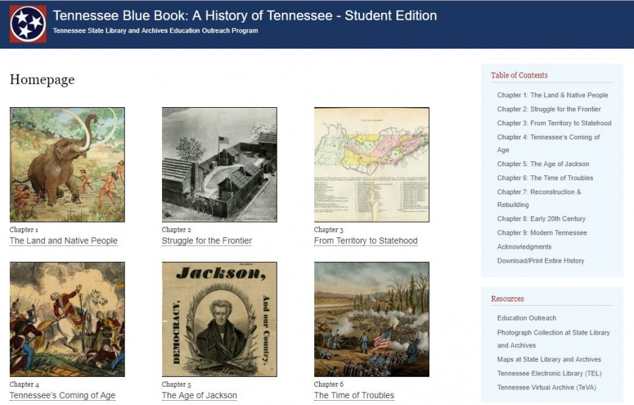 Tennessee Blue Book: A History of Tennessee - Student Edition