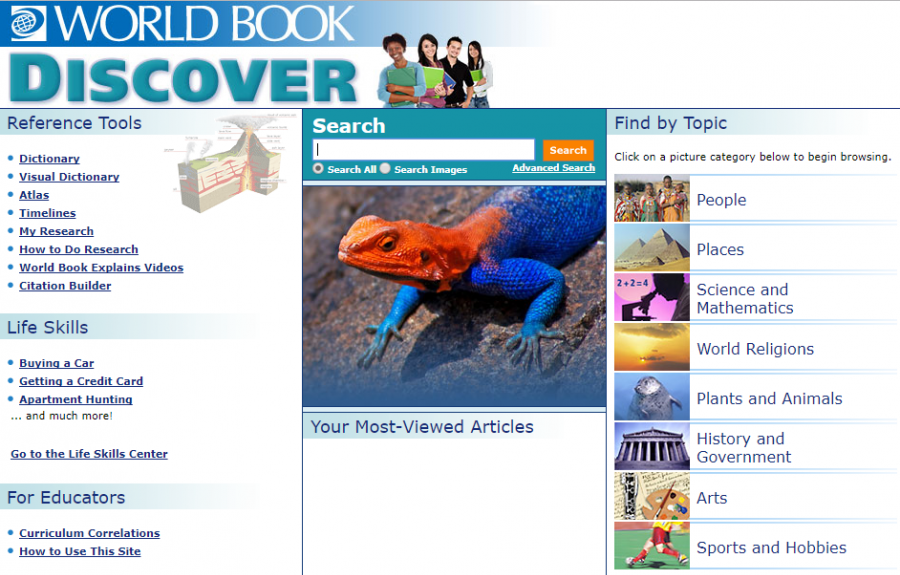 World Book Discover homepage
