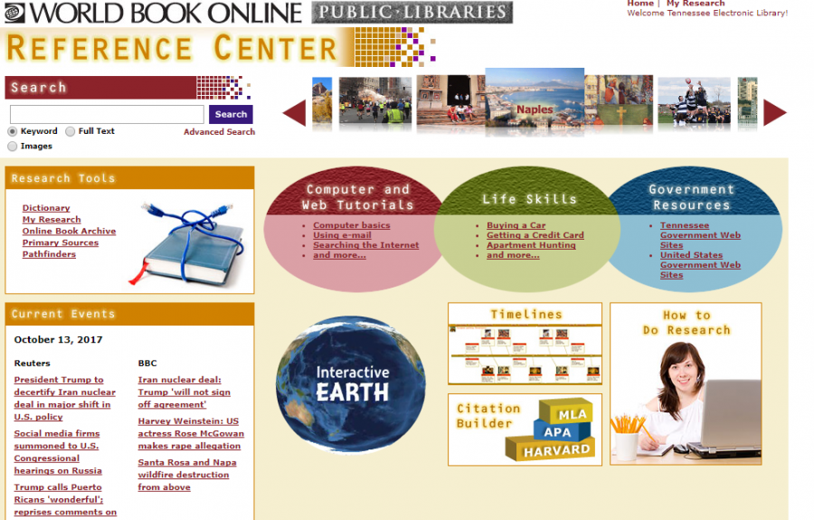 World Book Reference Center homepage