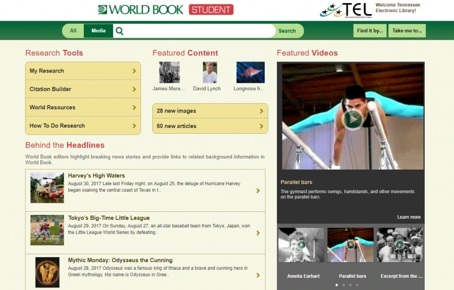 World Book Student home page