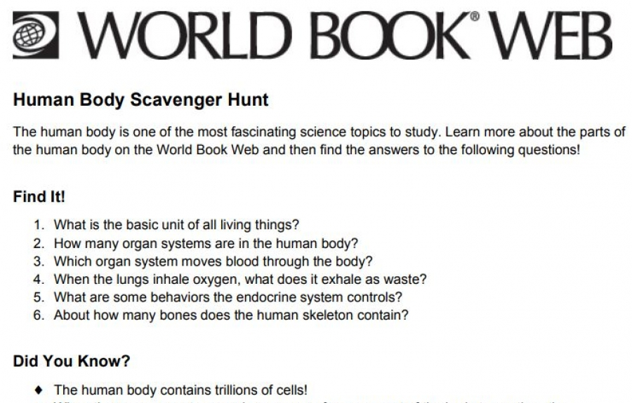 World Book Scavenger Hunts screenshot
