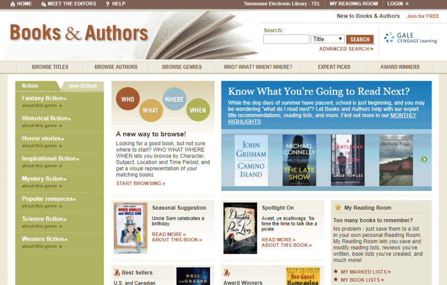 Books and Authors homepage