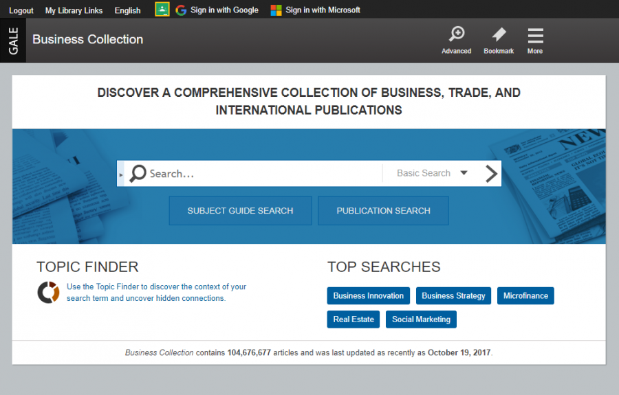 Business Collection homepage