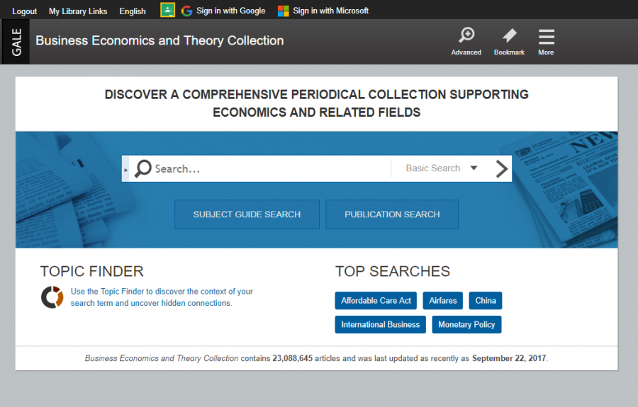 Business, Economics, and Theory Collection homepage