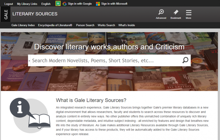 Gale Literary Sources homepage
