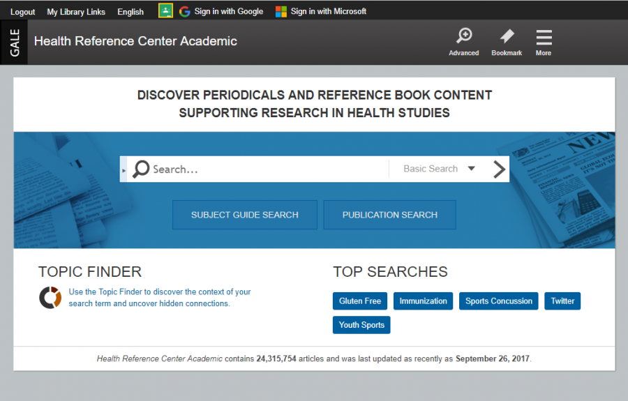 Health Reference Center Academic homepage