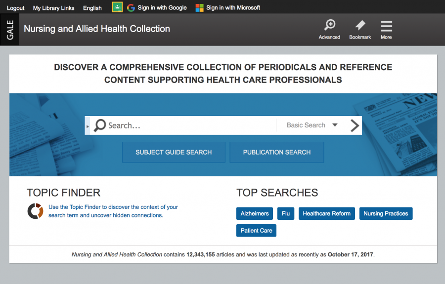 Nursing and Allied Health Collection homepage