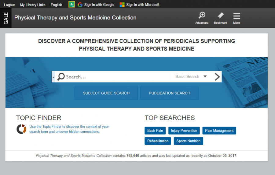 Physical Therapy and Sports Medicine Collection homepage